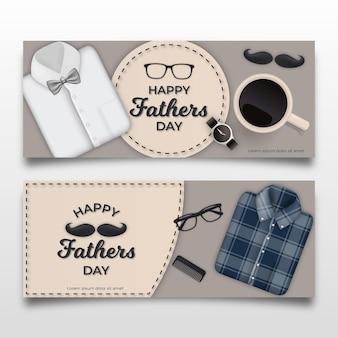 Bannières de fête des pères avec chemises et moustache