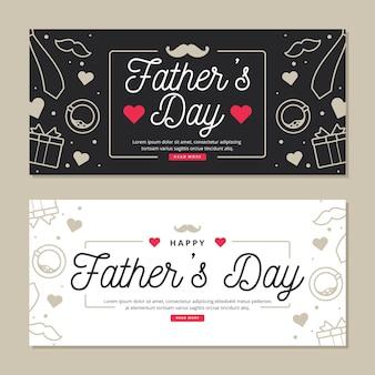 Bannières de fête des pères avec coeurs