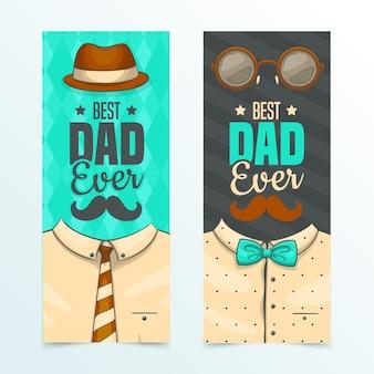 Bannières de fête des pères design dessiné à la main