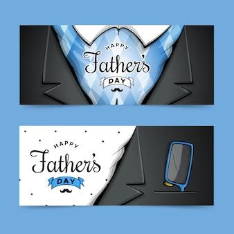 Bannières de fête des pères design dessinés à la main
