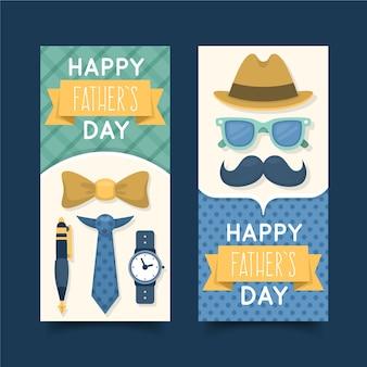 Bannières de fête des pères design plat avec moustache