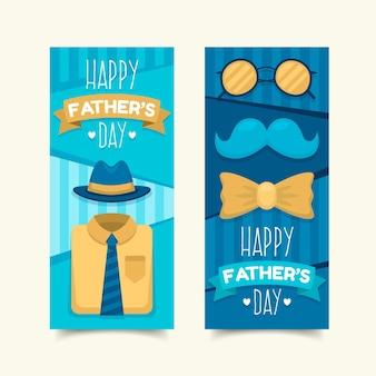 Bannières de fête des pères design plat