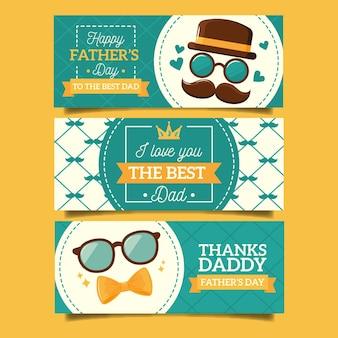 Bannières de fête des pères dessinés à la main
