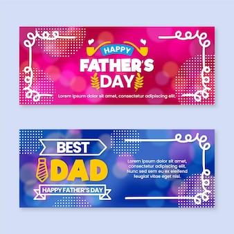 Bannières de fête des pères floue