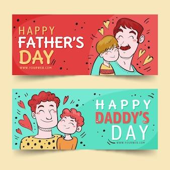 Bannières de fête des pères heureux avec papa et fils