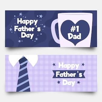Bannières de fête des pères heureux avec tasse et cravate