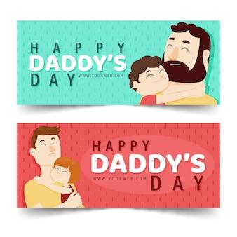Bannières de fête des pères heureux