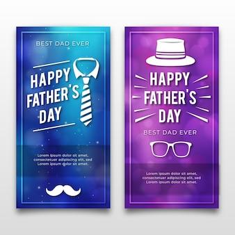 Bannières de fête des pères avec des lunettes et une cravate