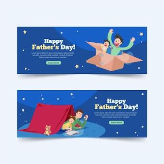 Bannières de fête des pères avec papa et enfant