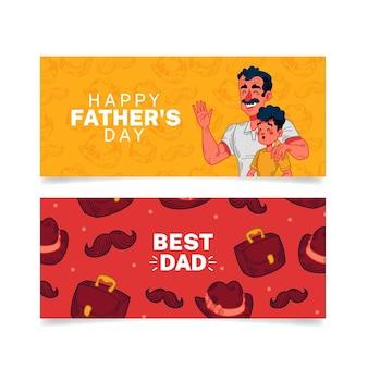 Bannières de fête des pères avec papa et fils