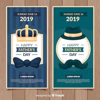 Bannières de fête des pères plats