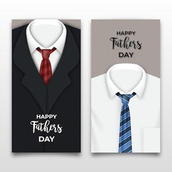 Bannières de fête des pères réalistes avec des costumes