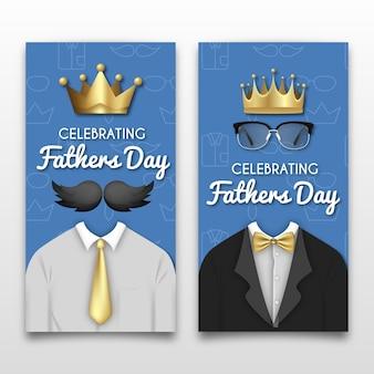 Bannières de fête des pères réalistes avec des couronnes