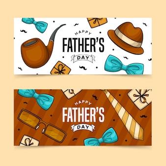 Bannières de fête des pères style dessiné à la main