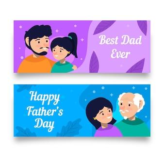 Bannières de fête des pères style plat