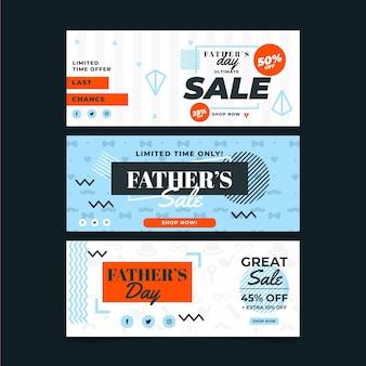 Bannières de fête des pères avec vente en ligne