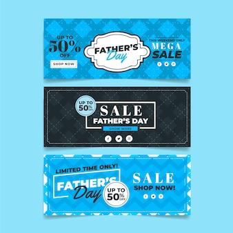 Bannières de fête des pères avec vente