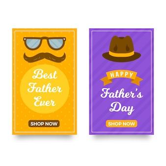 Bannières de fête des pères verticales plates