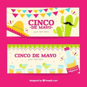 Bannières de fête pour cinq de mayo avec des designs fantastiques