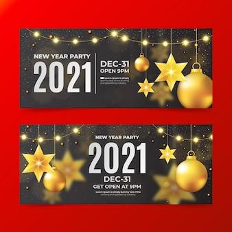Bannières de fête réalistes du nouvel an 2021