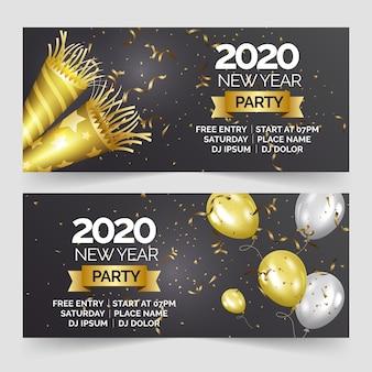 Bannières de fête réalistes du nouvel an