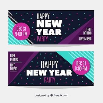 Bannières de fête de rétro nouvel an dessinés à la main 2018