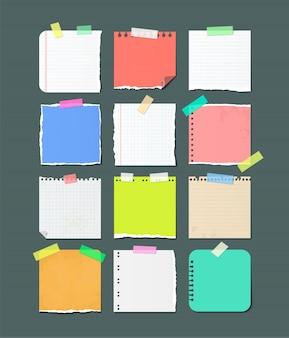 Bannières de feuilles de papier déchirées pour les notes.