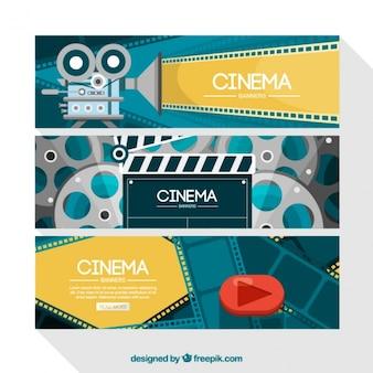 Bannières de films en design plat