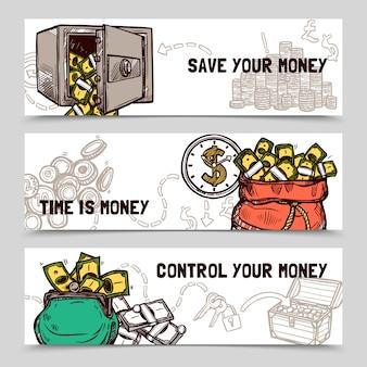 Bannières financières de gestion du temps mis doodle
