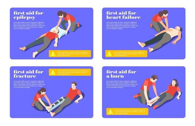 Bannières de flashcards isométriques étapes de traitement de premiers soins