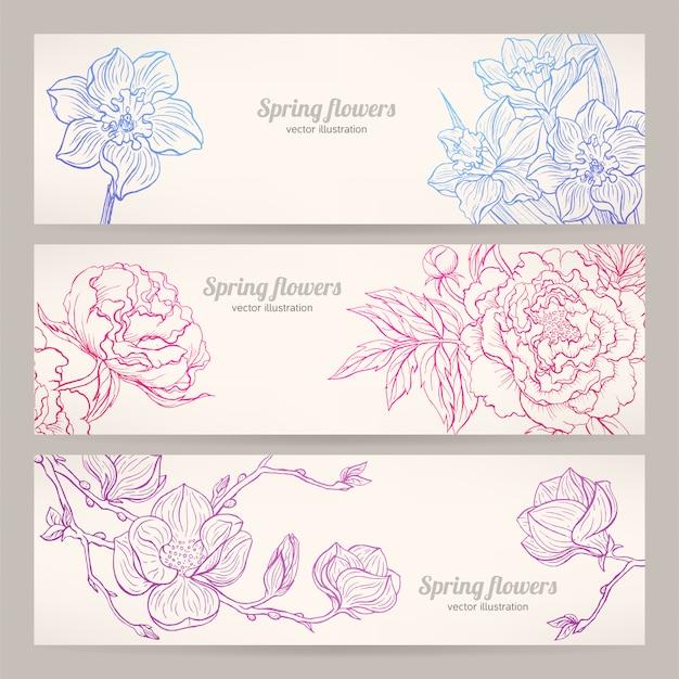 Bannières avec des fleurs dessinées à la main