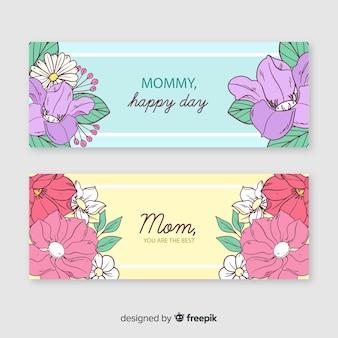 Bannières florales pour la fête des mères