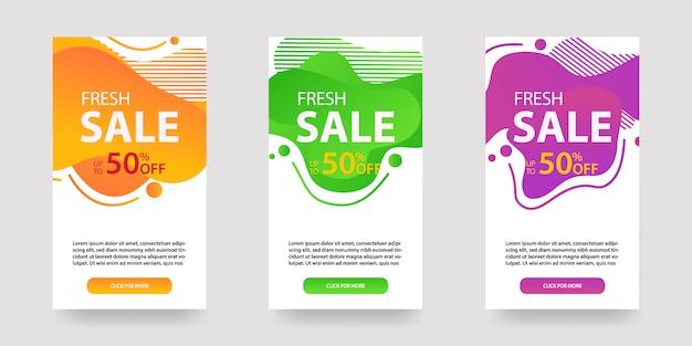 Bannières fluides modernes et dynamiques pour la vente. conception de modèles de bannière de vente, ensemble d'offre spéciale de vente flash, publication dans les médias sociaux, etc.