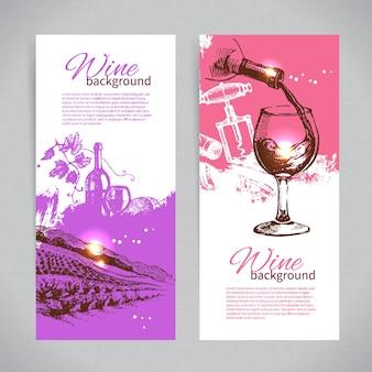 Bannières de fond vintage de vin. illustrations de croquis dessinés à la main