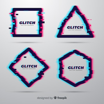 Bannières de forme géométrique glitch