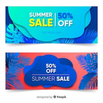 Bannières de forme liquide de vente d'été