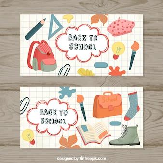 Bannières avec des fournitures scolaires en aquarelle