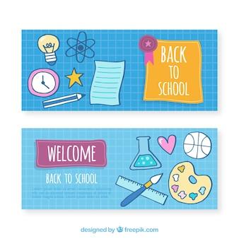 Bannières avec fournitures scolaires dessinées à la main