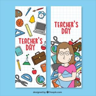 Bannières avec des fournitures scolaires et un enseignant