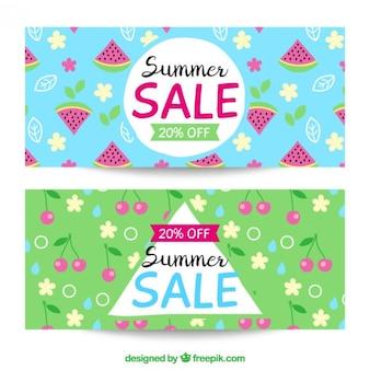 Bannières fraîches et mignon pour les soldes d'été