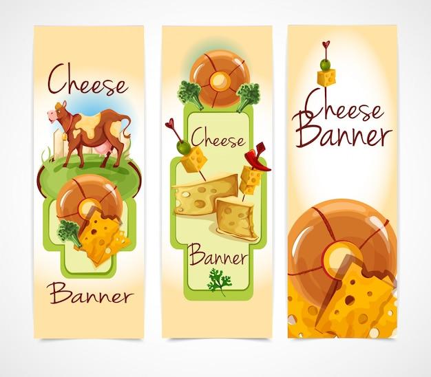 Bannières de fromage verticales