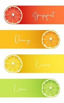 Bannières avec des fruits frais de pamplemousse orange citron et citron vert