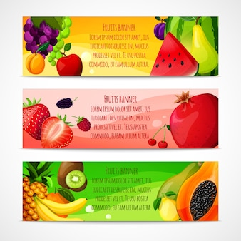 Bannières de fruits horizontales