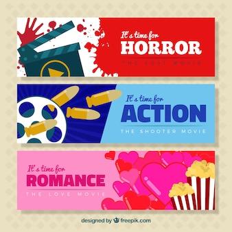 Bannières avec les genres du cinéma