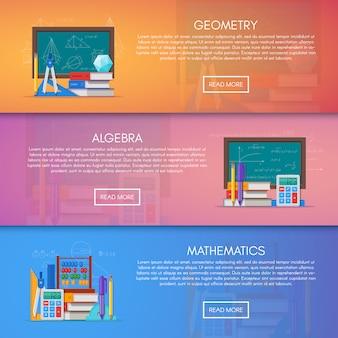 Bannières de géométrie, d'algèbre et de mathématiques. concept d'enseignement des sciences dans la conception de style plat.