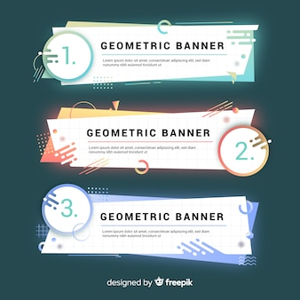 Bannières géométriques colorées abstraites