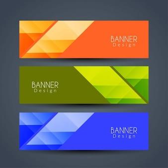 Bannières géométriques colorées lumineuses fixées
