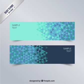 Bannières géométriques dans des tons bleus