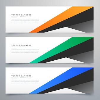 Bannières géométriques modernes ensemble de trois