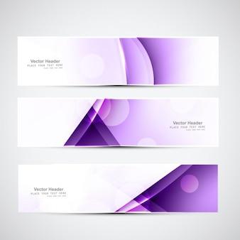 Bannières géométriques violet